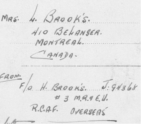 Image of Postcard address line showing Hubert Brooks inserting an apostraphe s